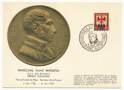 Carte Commémorative - Centenaire D'André MASSENA, Maréchal De France - Cachet Temp. NICE 4 Mai 1958 - Poststempel (Briefe)