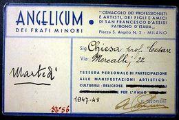 Tessera Angelicum Frati Minori Di Partecipazione Manifestazioni - 1947 - Old Paper