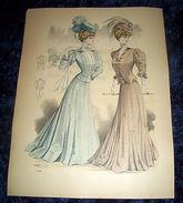 Stampa Litografia D' Epoca Originale - Moda Abiti Donna  B102 - 1900 Ca - Estampes & Gravures