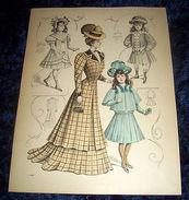 Stampa Litografia D' Epoca Originale - Moda Abiti Donna Bambino  B106 - 1900 Ca - Estampes & Gravures