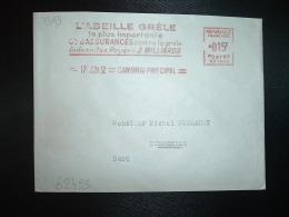LETTRE EMA SC 1393 à 015F Du 17 JUN 52 CAMBRAI PRINCIPAL (59) L'ABEILLE GRELE ASSURANCES - Marcofilie (Brieven)