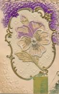 G152 - Carte Brodé - Pensée Et Violettes - Bonne Année - Brodées