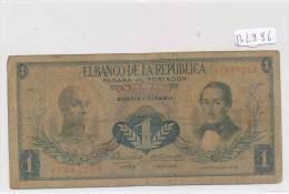 Billets -B2996 - Colombie - Un Peso Oro  (type, Nature, Valeur, état... Voir  Double Scans) - Colombie