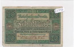 Billets -B2997-Allemagne -10 Mark 1920 (type, Nature, Valeur, état... Voir  Double Scans) - [ 3] 1918-1933 : Weimar Republic