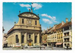 Suisse Vaud Yverdon Cathédrale Monument Pestalozzi PUB Omega En 1970 VOIR ZOOM SOLEX Peugeot 404 OPEL Taunus 12M - VD Vaud