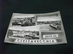 Civitavecchia SALUTI NAVE SHIP  PORTO PARTENZA PER LA SARDEGNA DEL TRAGHETTO VEDUTE PIEGHETTA ANG. - Traghetti