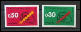 France N°1419 / 1420 Code Postal Non Dentelé ** MNH (Imperforate) - France