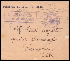 5335 Lettre Cover Bouches Du Rhone Simple Taxe Loi De 1889 Marseille 1946 A6 Pour Roquevaire - 1921-1960: Période Moderne