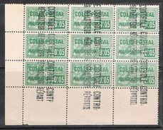 ALGERIE COLIS POSTAL N°10 N**  En Bloc De 9 Timbres, Variété Surcharge Renversée - Algérie (1924-1962)