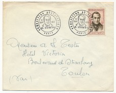 FRANCE => Enveloppe Affranchie 35F Auguste Comte - Cachet Secondaire Expo Philatélique Paris Concordante 14 Sept 1957 - Cachets Commémoratifs