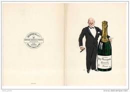 Dépliant Porte Menu Champagne Heidsieck & Co, Dry Monopole, Reims, Signé Sem - Menus