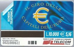 IT.- SCHEDA TELEFONICA. TELECOM ITALIA LIRE 10.000. € 5,16. IL GIRO DELLE CAPITALI DE L'EURO . 2 Scans. - Italië