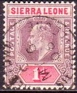 SIERRA LEONE 1904 SG #87 1d Used Wmk Mult.Crown CA Ordinary Paper - Sierra Leone (...-1960)