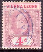 SIERRA LEONE 1905 SG #92 4d Used Wmk Mult.Crown CA - Sierra Leone (...-1960)