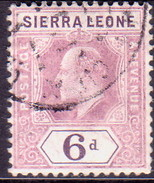 SIERRA LEONE 1908 SG #107 6d Used Dull And Bright Purple Wmk Mult.Crown CA - Sierra Leone (...-1960)