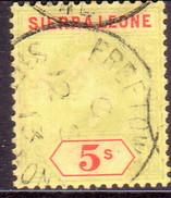 SIERRA LEONE 1908 SG #110 5sh Used Green And Red/yellow Wmk Mult.Crown CA CV £70 - Sierra Leone (...-1960)
