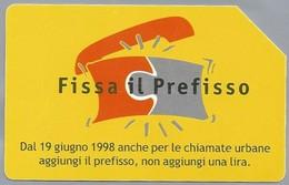 IT.- SCHEDA TELEFONICA. TELECOM ITALIA LIRE 5.000. Fissa Il Prefisso. Dal 19 Giugno 1998 Anche Le Chiamate ..... 2 Scans - Italië
