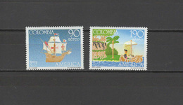 Colombia 1991 Christopher Columbus, Ships, 500th Anniversary Of Discovery Of America Set Of 2 MNH - Christoffel Columbus