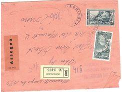 £100 MAZZINI RACCOMANDATA ASSEGNO MONCALIERI TORINO - 1946-.. République
