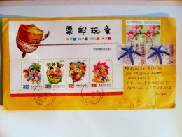Cover From Taiwan China Sent To Lithuania M/s Children Games Animals Insect Dog Flowers Marine Life - 1945-... Republic Of China