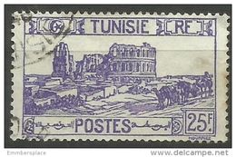 Tunisia  - 1945 Roman Amphitheater 25f Used  Sc 113b - Used Stamps
