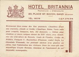 Carte Hôtel BRITANNIA à Gent Gand 2 Faces  - Francais Flamand - Sports & Tourisme
