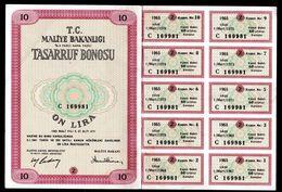 1965 TURKEY 10 LIRA TREASURY BOND - Turkey