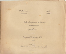 Document Cours De L'école Supérieur De Guerre Travail D'artillerie Herpont Yèvre Auve Dommartin Dompierre Varimont 1902 - Documenten