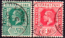 SIERRA LEONE 1912-18 SG #112,113b ½d,1d Two Used Stamps With Wmk Mult.Crown CA - Sierra Leone (...-1960)
