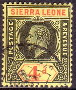 SIERRA LEONE 1915 SG #117a 4d Used Black And Red On Lemon Wmk Mult.Crown CA Die I CV £13 - Sierra Leone (...-1960)