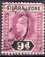 SIERRA LEONE 1912 SG #121 9d Used Wmk Mult.Crown CA Die I CV £12 Faulted Corner - Sierra Leone (...-1960)