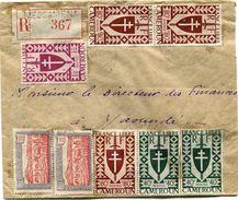 CAMEROUN FRANCE LIBRE LETTRE RECOMMANDEE DEPART MESSAMENA 16 V 45 CAMEROUN POUR LE CAMEROUN - Cameroun (1915-1959)