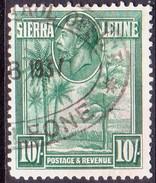 SIERRA LEONE 1932 SG #166 10sh Used CV £140 Probably Fiscal Cancellation - Sierra Leone (...-1960)