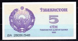 1992 UZBEKISTAN 5 SUM - Uzbekistán