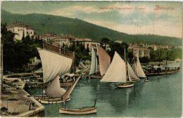 """CPA Abbazia. Hafen Mit Torpedoboot """"Komet"""" CROATIA (623336) - Croazia"""