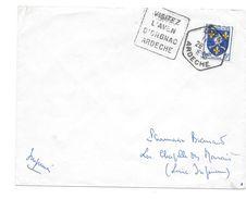 Lettre Oblitération Daguin Orgnac Ardèche 1955 - Marcophilie (Lettres)