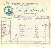 FACTURE 1932 CH. LORILLEUX ENCRES D'IMPRIMERIE 16 RUE SURGER PARIS VI - France