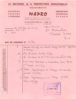 MAPRO 27 RUE JULIETTE DODU PARIS X MATERIEL CONTRE L'INCENDIE  BL DE 1961 - 1950 - ...