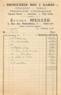 FACTURE LUCIEN MULLER 3 RUE DES PETITS HOTELS PARIS X DROGUERIE DES 2 GARES  1952 - 1950 - ...