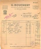 FACTURE G.  BOUCHERY 51 RUE DE CHABROL PARIS FILS CABLES ET MATERIEL ELECTRIQUES  1952 - 1950 - ...