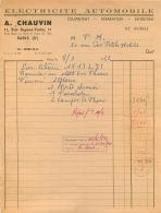 FACTURE A. CHAUVIN 11 RUE EUGENE VARLIN PARIS X   ELECTRICITE AUTOMOBILE 1952 - 1950 - ...