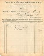 FACTURE 1903 COMPAGNIE FRANCAISE DES MOTEURS A GAZ ET DES CONSTRUCTIONS MECANIQUES  PARIS XV - France