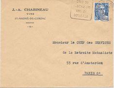 Lettre Oblitération Daguin Saint André De Cubzac Gironde 1952 - Maschinenstempel (Werbestempel)