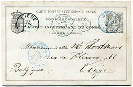 CONGO BELGE ENTIER POSTAL AVEC REPONSE DEPART BOMA ? FEVR 1893 POUR LA BELGIQUE - 1884-1894 Vorläufer & Leopold II.