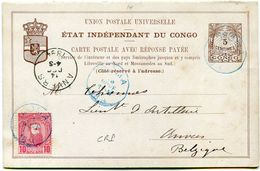 CONGO BELGE ENTIER POSTAL AVEC REPONSE + COMPLEMENT D'AFFRANCHISSEMENT DEPART BOMA 1 NOVE 1894 POUR LA BELGIQUE - 1884-1894 Vorläufer & Leopold II.