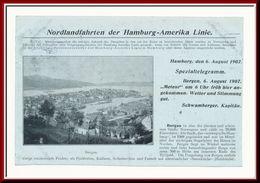 ★★ METEOR I BERGEN. TELEGRAM 1907 ★★ Nordlandfahrt Hamburg-Amerika-Linie , BERGEN , Telegramm Drucksache  NORWAY ★★ - Norvège