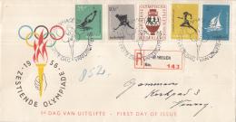 Nederland - FDC E26 - Olympische Spelen Melbourne - Met Adres/open Klep - Aantekenen Nijmegen 143 - Sommer 1956: Melbourne