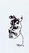 Daniel Vignal - Portrait Mélangé - Encre Et Feutre Sur Canson Pastel - 28,8 X 16,2 Cm (11,3 X 6,3 Inches) - 1996 - Non Classés
