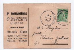 1950 - CARTE COMMERCIALE De VILLEURBANNE (RHONE) Avec GANDON - Marcophilie (Lettres)
