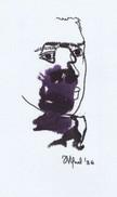 Daniel Vignal - Portrait Mélangé 2 - Encre Et Feutre Sur Canson Pastel - 28,8 X 16,2 Cm (11,3 X 6,3 Inches) - 1996 - Non Classés